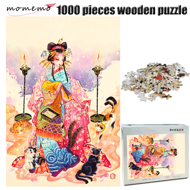 MOMEMO Cats and Girl Wooden Adult Puzzle 1000 Pieces Color Chinese Style Painting Jigsaw Puzzle 1000 Pieces Adult Puzzle Toy