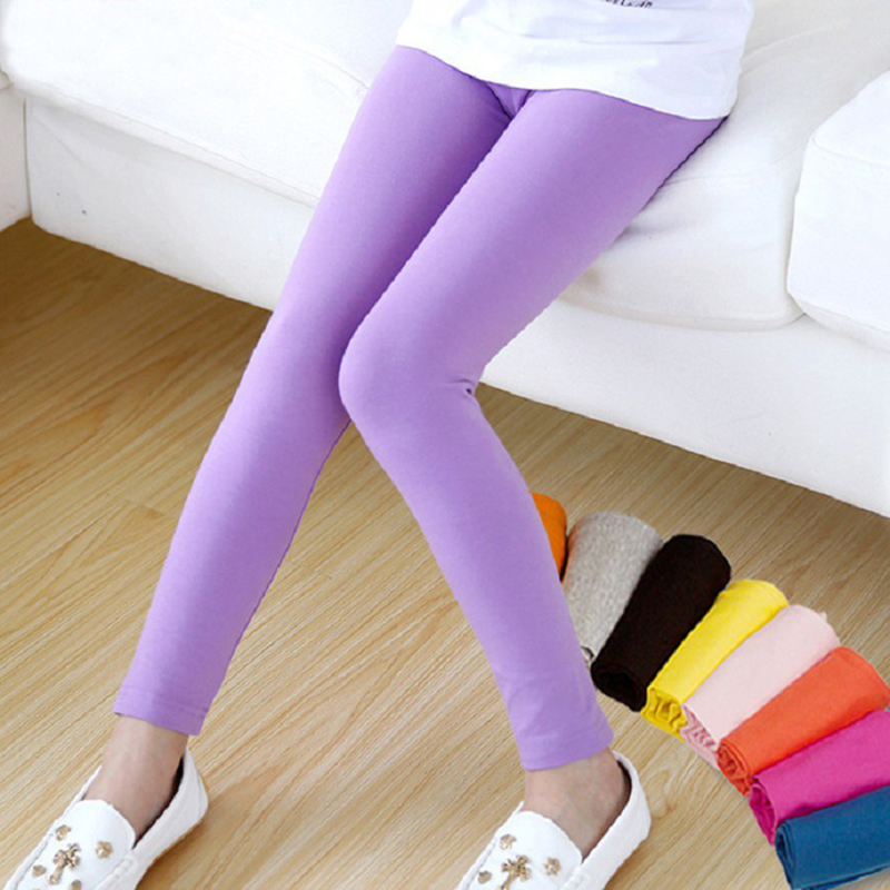 Girl Pants Soft Elastic Modal Cotton Kids Leggings Candy Color Girls Skinny Pants Trousers Solid Color 2-13Y Children Trousers 2