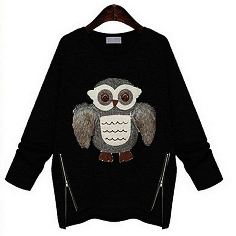 EXOTAO Women Hoodies 2017 New Fashion Winter Sweatshirts Casual Owls Printing Plus Thick Velvet Tracksuits Moletom Feminino