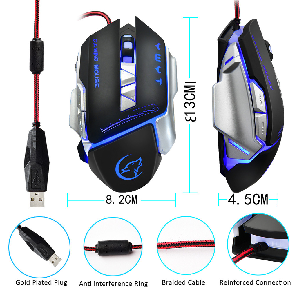 Mouse Game 4 Color Background Programmable Buttons Gamer For Game Button For Desktop Gaming Pc