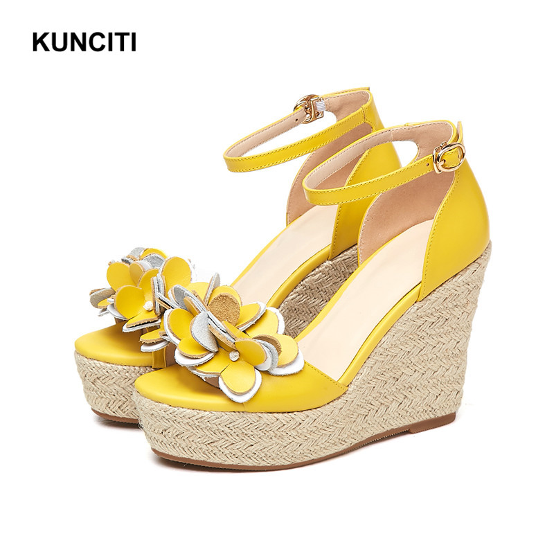 2019 KUNCITI Keile Schuhe Für Frauen Neueste Ankle Strap Damen Hohe Plattform Sandalen Koreanische Stil Hohe Ferse Koreanische Sandalen X9133-in Hohe Absätze aus Schuhe bei  Gruppe 1