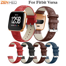 ZENHEO часы группа крокодил узор Повседневное ремень из натуральной кожи для Fitbit Versa Ремешок Браслет Для мужчин Для женщин ремешок