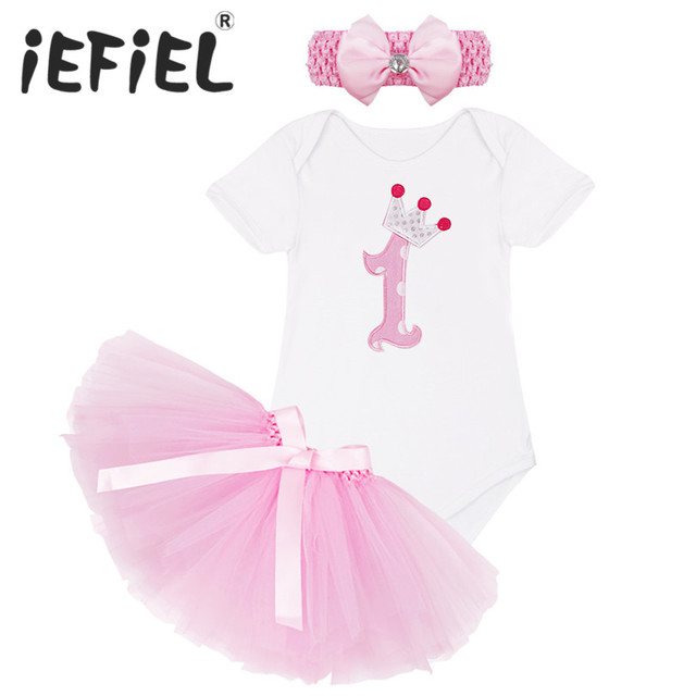 40b4c2a26d222 US $10.82 36% OFF|New Arrival Infant Newborn Baby Girls 1ST Birthday Party  Romper with Pink Tutu Dress Headband Chirstmas Bow Holiday Outfit Suit-in  ...