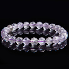 цена 100% Natural Purple Kunzite Gems Round Beads Bracelet Gemstone Cat Eye Crystal 7.5mm Women Stone Rarest Bracelet Jewelry AAAAA онлайн в 2017 году
