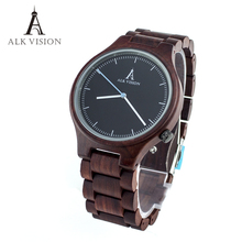 mens wooden watch quartz red sandal wood watch cusual mens womens couple clock top brand luxury Women watches clock ALK Vision