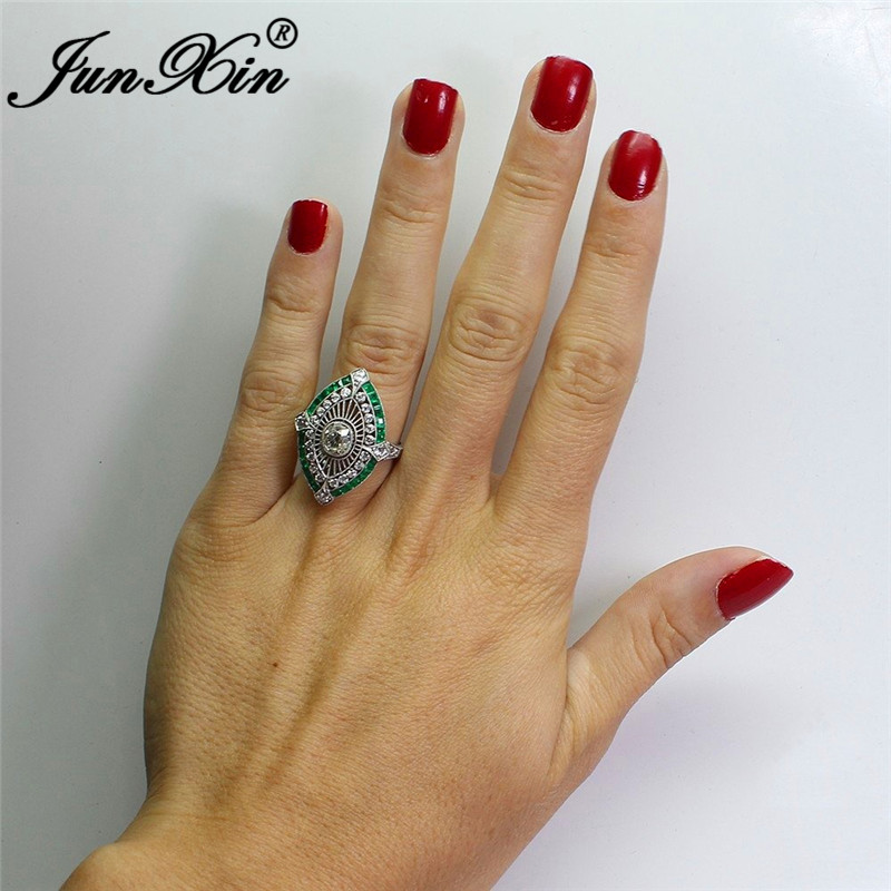 5629d2c4fcb6 JUNXIN femenino masculino antiguo 925 Plata llena grandes anillos anchos para  Mujeres Hombres piedra verde blanco circón boda bandas joyería turca en ...