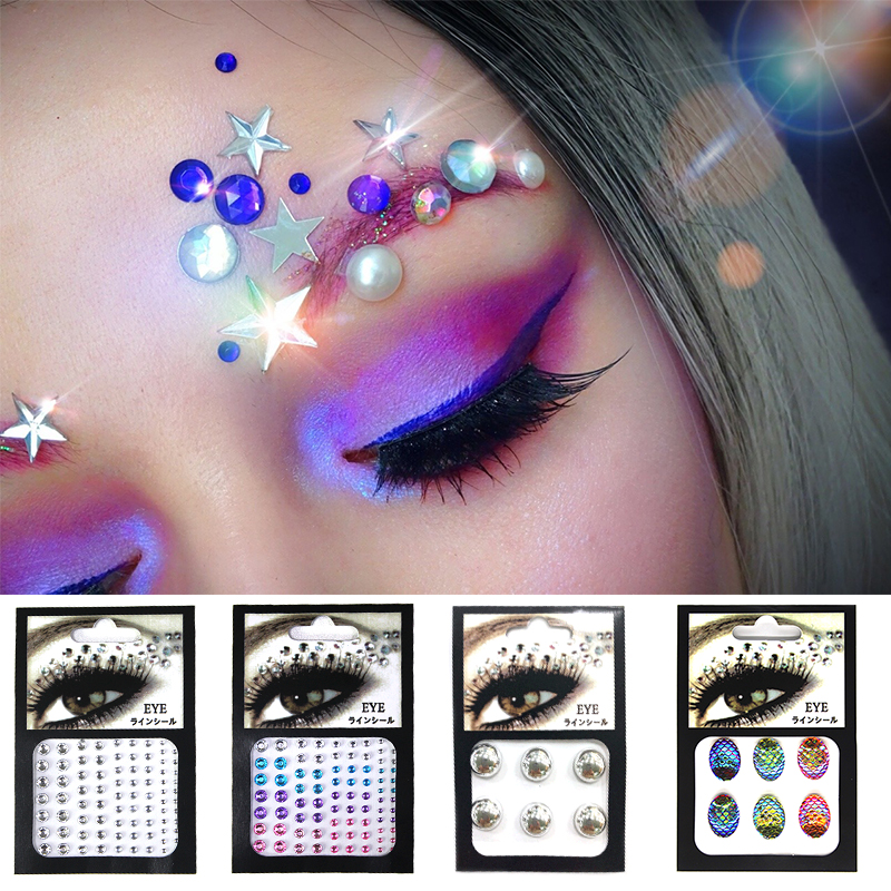 3D Sexy Crystal Jewel Eyes Festival Party Makeup Tools Eyes Tattoo DIY Diamond Glitter Makeup Adornment Sticker 1PCS Glitter