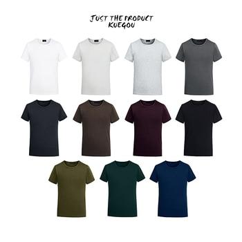 KUEGOU 2020 Summer Cotton Plain White T Shirt Men Tshirt Brand T shirt Short Sleeve