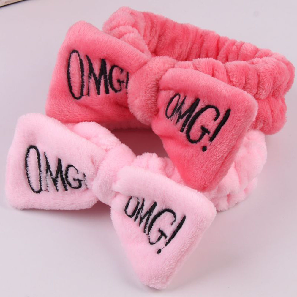 2019 New Letter OMG Coral Fleece Soft Bow Headbands Wash Face Headband Women Girls Holder Turban Hairbands Hair Accessories