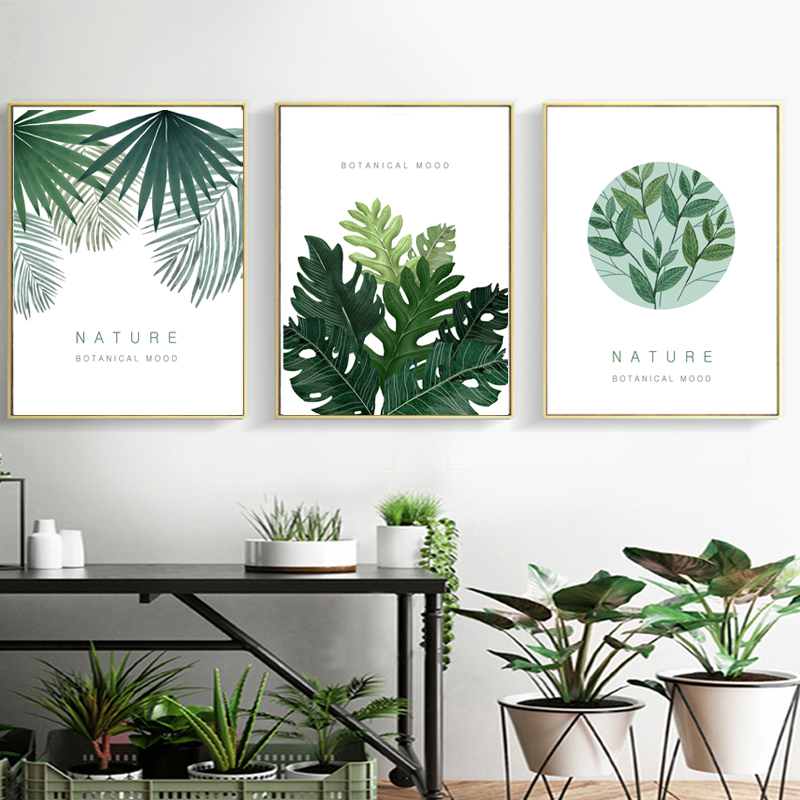 Clstrose Watercolor Tropical Plant Leaf Wall Art Canvas