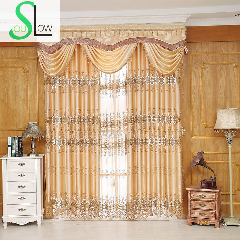Slow Soul Yellow European Style Curtain Fabric Living Room Bedroom  Embroidered Curtains Tulle Cortina For Rideaux Kitchen