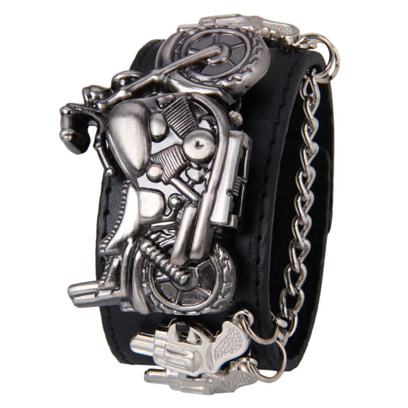 2017 Synthetic Leather Stainless Steel Punk Rock Chain Skull Band Unisex Bracelet Cuff Gothic Wrist Watch Levete Dropshipping