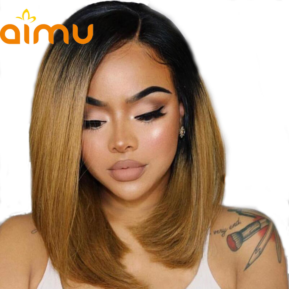 Deep Part Remy Brazilian Straight Short Cut 180 Ombre Black Honey Blonde Pre Plucked Hairline Human