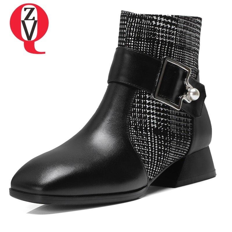 6695eeb8533e8a Nouvelles Black En Mélangées De Véritable Couleurs Mode Bout Tirette 34  Bottines 42 Bas Femmes Dames Carré Zvq Cuir Talon Taille 2018 Chaussures  Cw51xqg