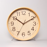2017 New Real Despertador Wall Clock Desk Clock Solid Wood 10 Inch Silent Movement Tablet With Sweep Second Dial Glass Mirror