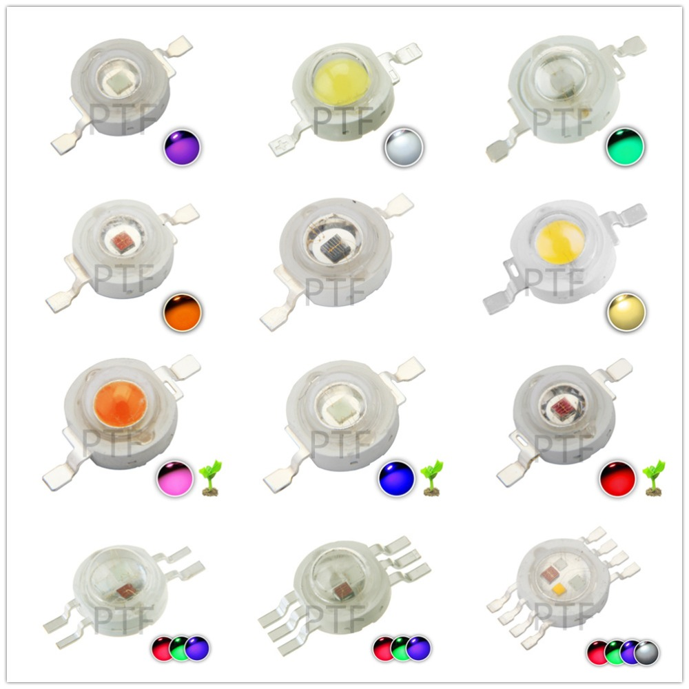 10pcs Real Full Watt  1W 3W High Power LED lamp Bulb Diodes SMD 110-120LM LEDs Chip For - 18W Spot light Downlight