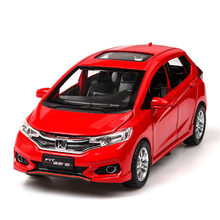 Hot 1:32 Alloy Car Model High Simulation Honda Fit Metal Diecasts Toy Vehicles Pull Back Flashing Musical Kids Toys недорого