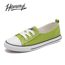 Hemmyi 2017 women canvas shoes Shallow casual women shoes Flat shoe lace-up bottom of the Oxford