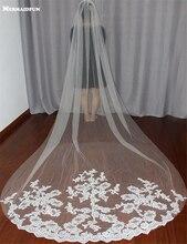 הכלה רעלות לבנה/שנהב Applique טול חתונת רעלות כלה אביזרי 3 מטרים veu de noiva ארוך תחרת כלה רעלה v1105
