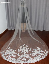 Bride welony biały/kość słoniowa aplikacja Tulle 3 metrów veu de noiva długie welony ślubne dla nowożeńców akcesoria koronki welon ślubny v1105