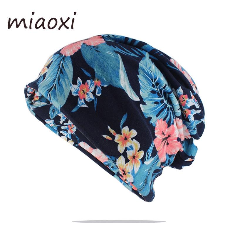New Fashion Floral Women Beauty Skullies Beanies Lady Double Used Hat Scarf Cute Girls Cotton Brand Hats Autumn Warm Bone