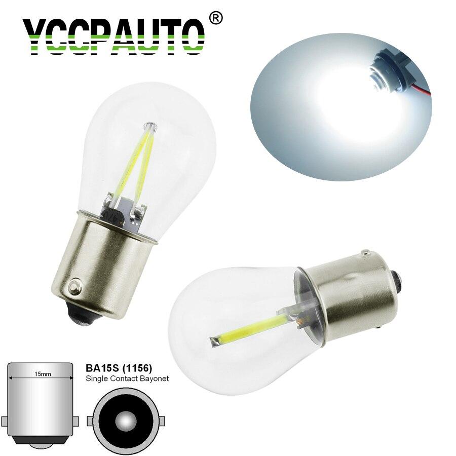 YCCPAUTO P21W 1156 Ba15s LED Car Light S25 Filament Chip Auto Vehicle Reverse Turning Signal Bulb Lamp DRL 12v 24v 1pcs