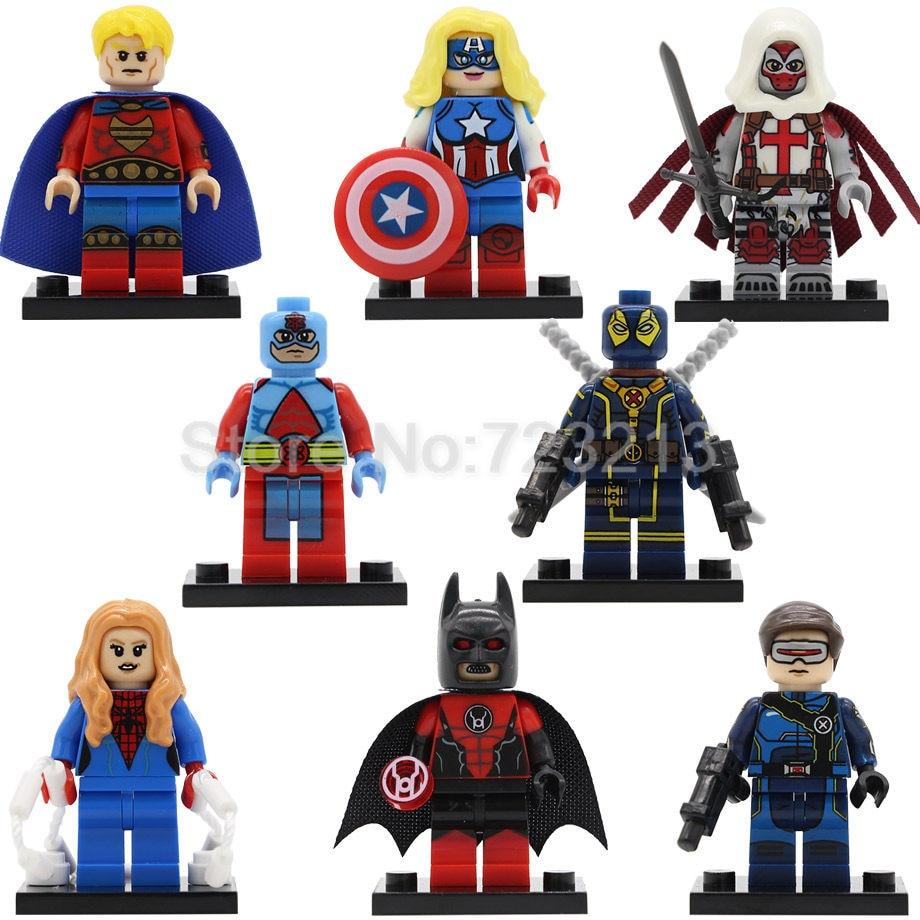 Super Hero Figure Single Sale Atom Quasar Azrael Cyclops Spider Woman Batman American Dream Building Blocks Set Model Toys