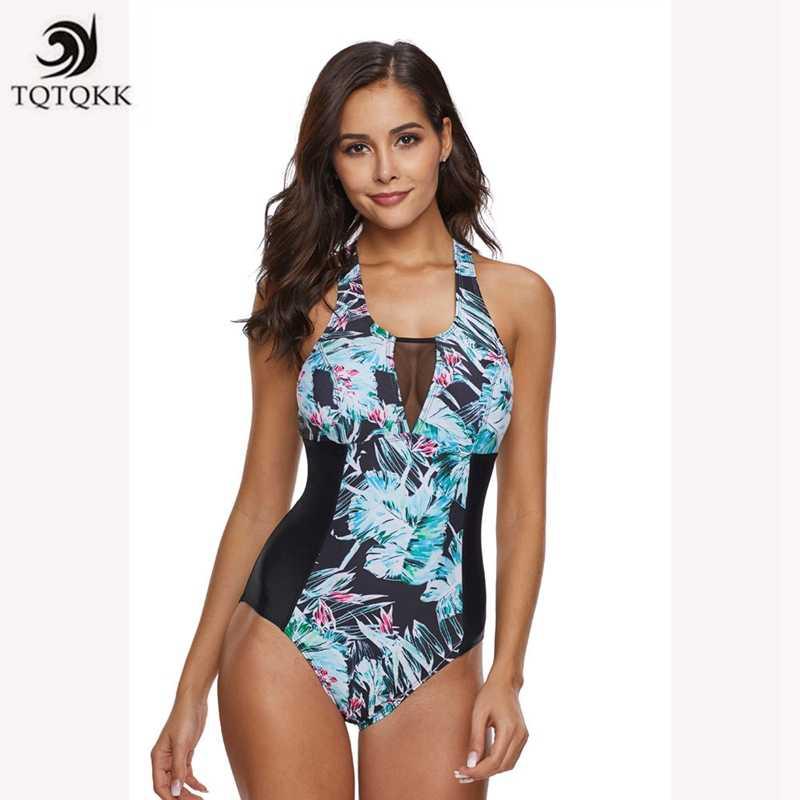 2548a322821 TQTQKK Swimsuit 2019 Bikini Print Vintage Plus size Swimwear Women Bandeau One  piece Swimsuit Monokini Female