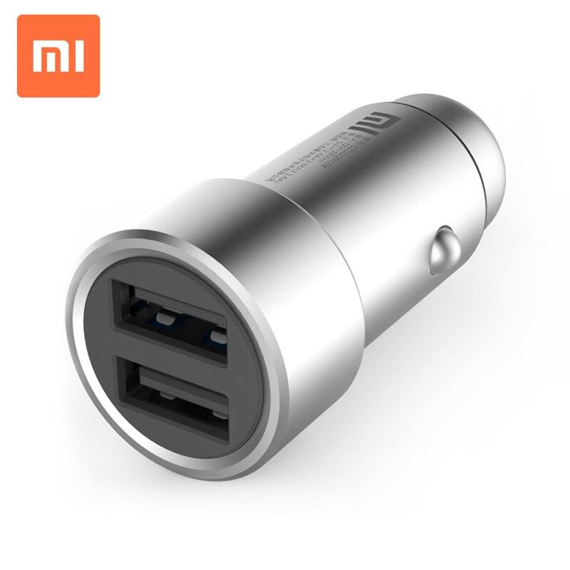 imágenes para Original Xiaomi Cargador Dual Del Coche Del USB 5 V/3.6A Volt Full Metal Adaptador de Corriente Compatible con La Mayoría de Teléfonos Tableta PC Mejor Calidad