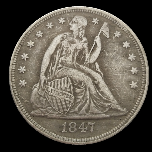Seated Liberty Dollar 1847 Silver Plated Usa Coins Copy Used Shiny Condition