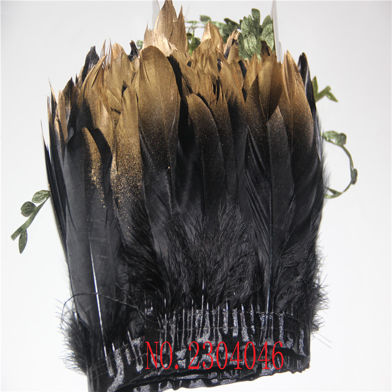 Wholesale 2-meter-long black goose feather gold head feathers made of cloth edge DIY dress headdress feather decoration