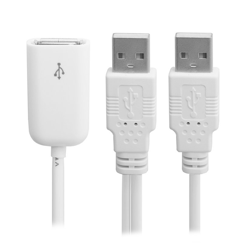 USB 2.0 Female to Dual A Male Extra Power Data Y Extension Cable for 2.5 Mobile Hard Disk White