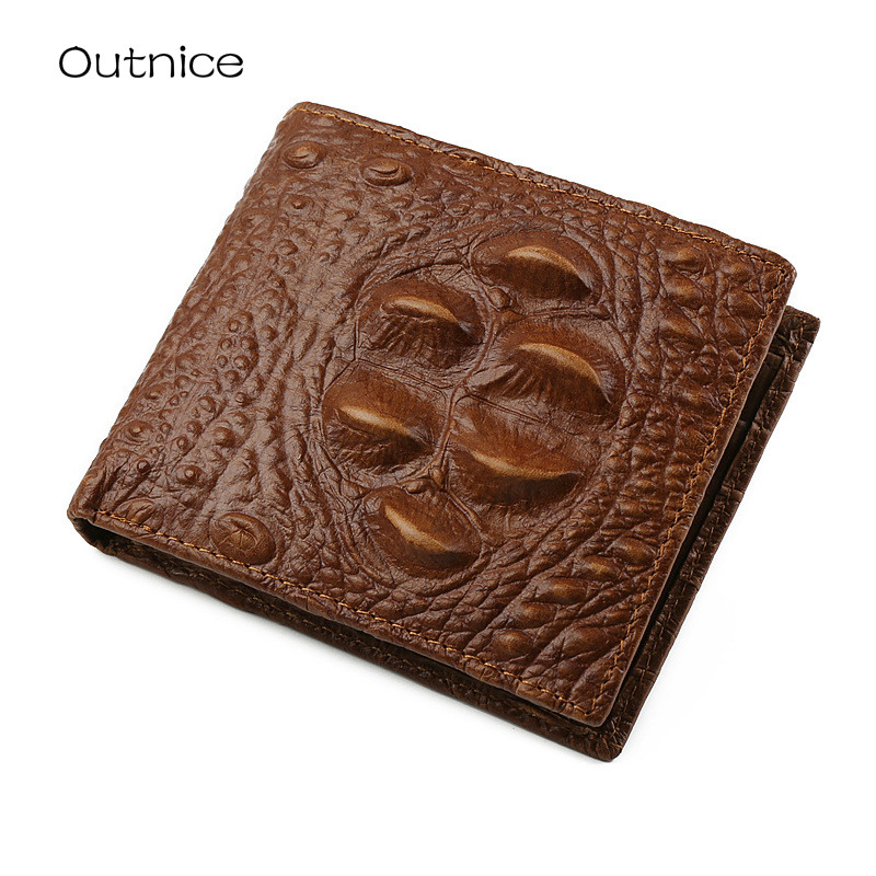 Outnice Brand Genuine Leather Mens Wallets Crocodile Pattern Male Casual Walet Purse With Coin Pocket carteras hombre billeteras