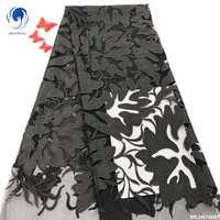 BEAUTIFICAL african black lace fabric wedding lace french net lace 2019 high quality lace 5 yards/lot selling for dress ML1N746