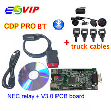 Quality A+TCS cdp pro cdp plus with bluetooth 2014 R2 / 2015 R3 With Keygen +8 full set truck cables diagnostic Cable Connector