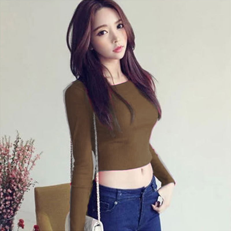 Women Suit Long Sleeves Crop Tops Round Neck High Waist T-shirt Slim Fit Tops NYZ Shop