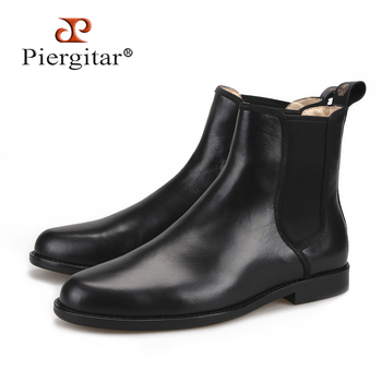 Piergitar 2018 classic styling Handmade Black Italian leather Men Chelsea Boots pair with anything from denim to formal wear