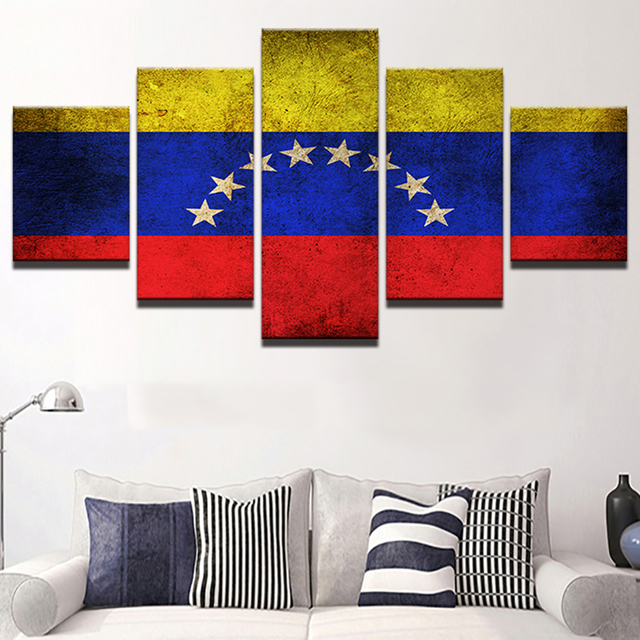 5 Panel HD Print Printings Canvas Modern Wall Art Frame Venezuela Flag Pictures Vintage Home Decoration Modular Poster Cuadros