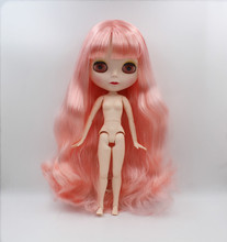 Blygirl,Blyth doll,Peach pink curly hair, 19 joints body, new face shell doll, 1/6 nude doll, can give her makeup and clothes blygirl blyth doll black curly doll no 114bl58 joint body 19 joints white body
