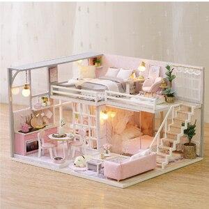 Casa de DIY para muñecas, juguetes para niños, casas de muñecas de madera, casa de muñecas en miniatura, Kit de muebles con música Led, regalo de cumpleaños L026