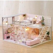 цена DIY Doll House Toys for Children Wooden doll Houses casa Miniature dollhouse Furniture Kit with Music Led Birthday Gift L026 онлайн в 2017 году