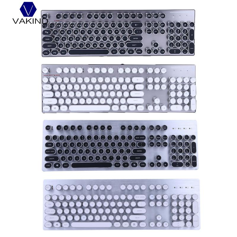 Retro Steam Punk Style Typewriter Keyboard , 104 Keys Mechanical Keyboard with 12 Backlight, for Notebook, Desktop PC Gaming rainbow gaming backlight keyboard 87 keys colorful mechanical keyboard with blue black switches desktop for pc laptop