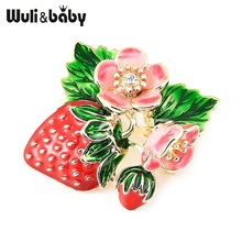 Купить с кэшбэком Wuli&baby Trendy Red Strawberry Enamel Brooches For Men Women's Classic Fruits Weddings Party Banquet Brooch Women's Accessories