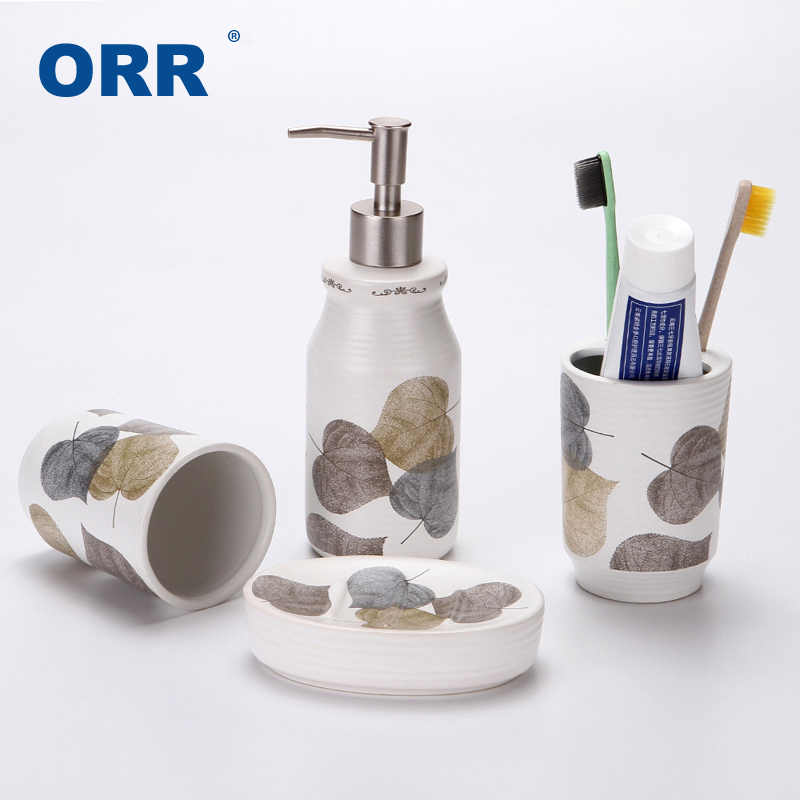 4pcs Ceramic Leaf Bath Accessories