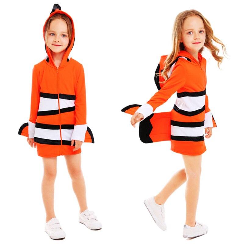 child Mermaid Dress Halloween girl Clownfish Cosplay Costume marine theme Masquerade Party Dress Halloween Costumes for child