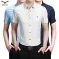 2017 Hombres del verano del color sólido de manga corta camisa de los hombres de Corea delgado business casual marea Masculina camisa de manga corta 5 colores Tamaño 5XL
