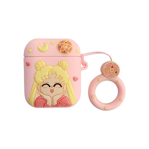Image 5 - Funda de auriculares con Bluetooth para Airpods 2, accesorios, funda protectora, bolsa, correa de anillo antipérdida, dibujo animado de silicona 3D Sailor Moon