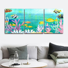 Laeacco Canvas Calligraphy Painting 3 Panel Underwater World Sea Fish Posters and Prints Wall Art Picture Home Living Room Decor laeacco sea marine fish sunshine posters and prints canvas painting wall art picture home decor living room decoration