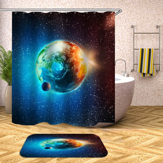 Planets Shower Curtain Outer Space Universe Waterproof Bath Curtains For Bathroom Bathtub Bathing Cover Large Wide