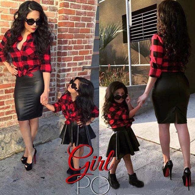 281dfed5334f Online Shop Girls Kids Vogue Clothing Set Tops Plaid Shirt Black PU ...
